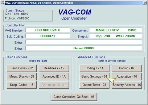 Адаптация дроссельной заслонки VAG с помощью Vag-Com KKL