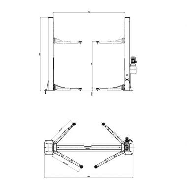 KRW4MLBL - Подъемник двухстоечный г/п 4000 кг. электрогидравлический